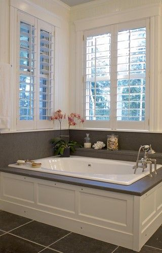 Wainscoting Around Tub Plantation Shutters Master Bath