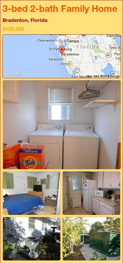 3-bed 2-bath Family Home in Bradenton, Florida ►$129,900 #PropertyForSale #RealEstate #Florida http://florida-magic.com/properties/85190-family-home-for-sale-in-bradenton-florida-with-3-bedroom-2-bathroom