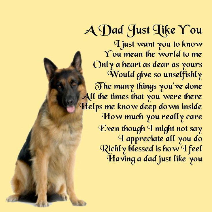 Personalised Coaster - Dad Poem - German Shepherd Dog ...