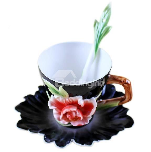 New Arrival Beautiful Peony Flower Design Exquisite Porcelain Coffee Cup Sets  @bedding inn