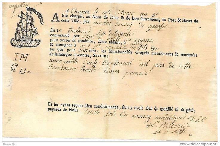 """10 Nivôse An 5  - CANNES (06) Connaissement  - Tartane """"La Diligente"""" - Historical Documents"""