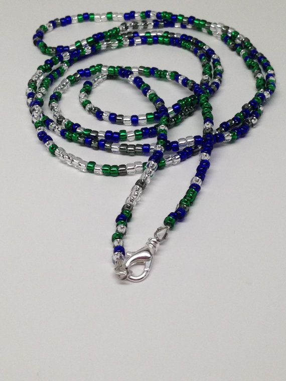 On Sale - Necklace-Seahawk Colors Seed Bead 50 inches by JewelryByTerriB