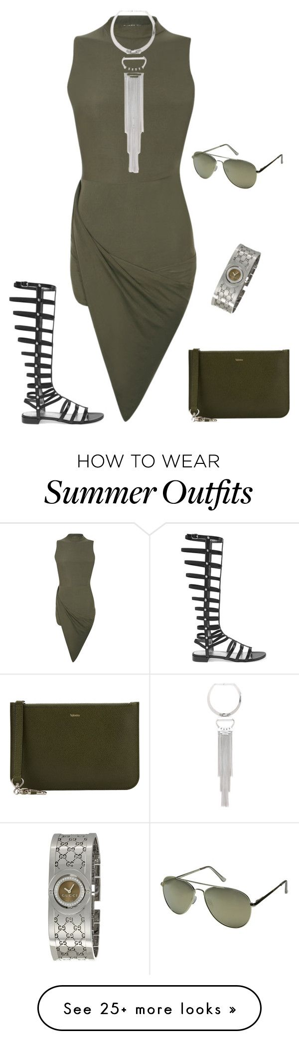 """outfit 4196"" by natalyag on Polyvore featuring Stuart Weitzman, Valextra, Pilot, Bebe, Le Specs, Gucci, Summer and sandals"