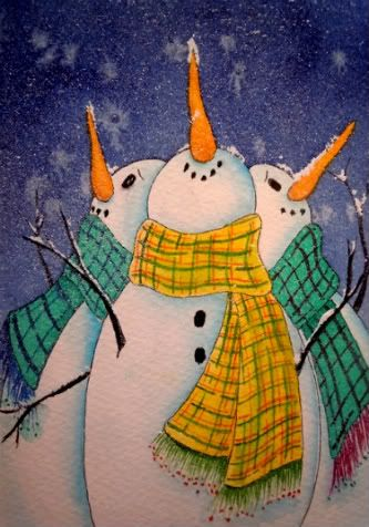 paintings of snowmen images | Original Small Format Art - Carolynn McDade: Winter's Coming!