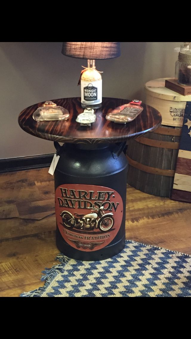 Milk can Harley Davidson table. I made this out of a vintage milk can I used a H…