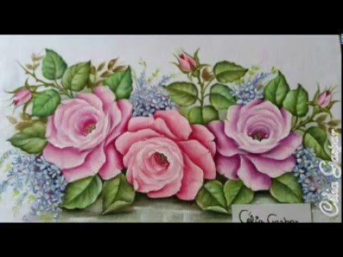 Vídeo Passo a Passo, de pintura de rosas em 3 tons. para iniciantes na pintura em tecido. Próximo vídeo, Aprenda a pintar Rosas 02, Vermelha, Amarela e Branca.