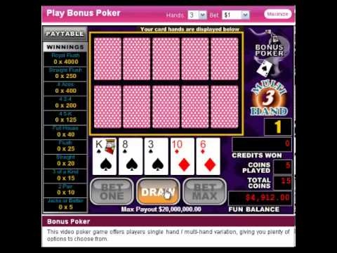 http://usvideopoker.com/Slots-of-Vegas-100free.htm Play with a $100 No deposit casino bonus http://www.slotsofvegas.eu/click/15/1212/4054/1 In Bonus Poker, the bonus is in the payouts for four-of-a-kind hands. You can play a single hand and take your chance at doubling your win in the Double or Nothing Bonus Round or you can play 3, 10, 52, or e...