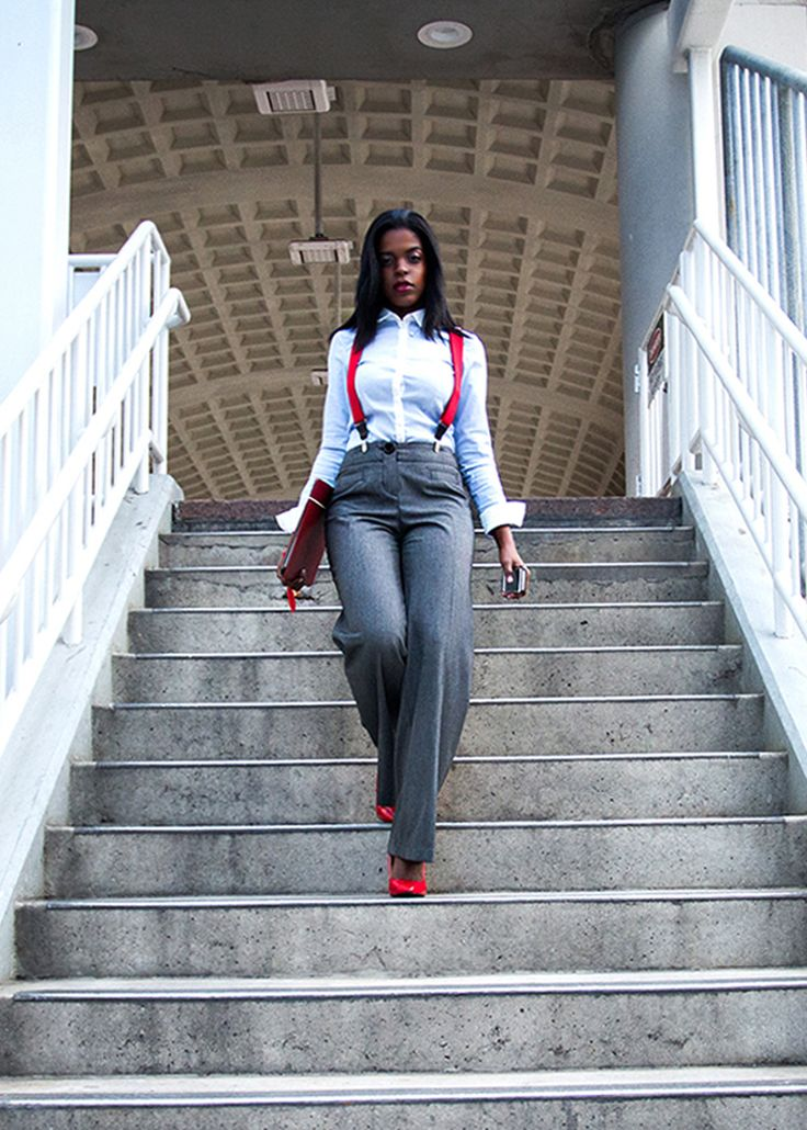 Inspired by actor Ed Westwick who plays Chuck Bass on Gossip Girl, this look is all about transforming menswear into striking a look that a woman can own with ease. A standard blue long sleeve button down with grey slacks now pops with red suspenders, red shoes and accessories. www.powermovesandpumps.com
