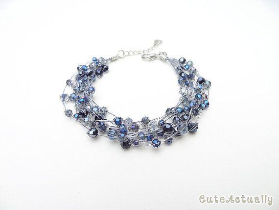Dark blue crystal bracelet on silk thread, Dark blue bracelet