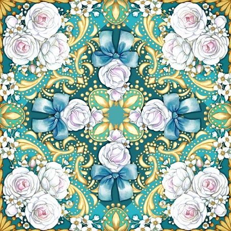 Square composition with roses and jasmine by Maria Rytova  #pattern #textile #background #backing #paper #work #纹样 #damask #арт #картинки #picture #decoupage #декупаж #дамаск #узоры #barok #baroque #wallpaper #design #卷草 #flower #图案 #фон #print #принт #printable #papel #ornament  #seamless #golden #luxury #surface #rose #floral #decorative #decor #vintage #tile #бордюр #border