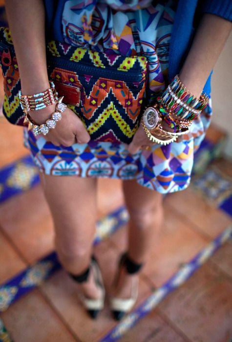 Print & color <3: Arm Candy, Style, Bracelets, Color, Aztec Prints, Mixed Prints, Accessories, Tribal Prints, Tribal Patterns