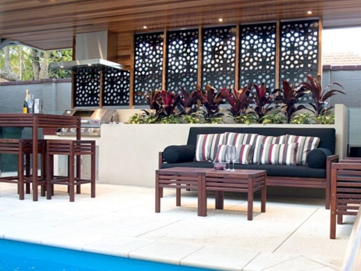 Laser cut privacy screens for alfresco or bbq area - Coleman small spaces bbq decoration ...