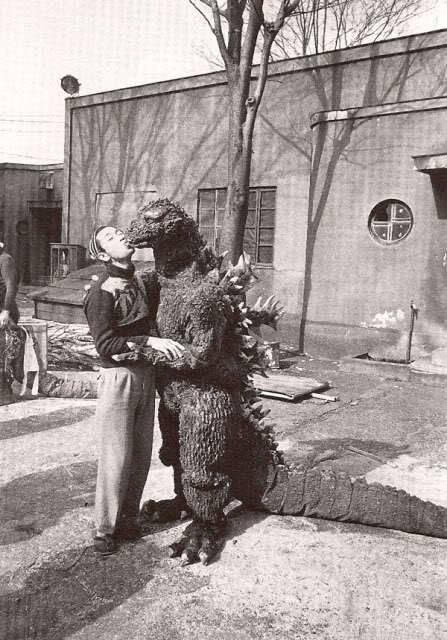 on the set of GODZILLA RAIDS AGAIN (1955)