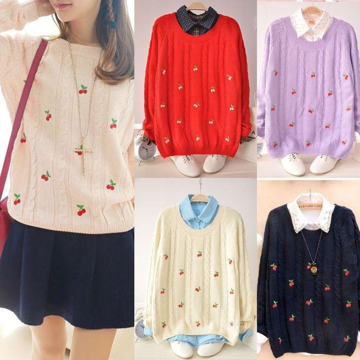 Japanese harajuku Embroidery cherry Sweet Hoodie Cotton knit Long Sleeve Sweater