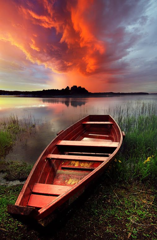 Boat and Cloud, Lithuania . // Lithuania, officially the Republic of Lithuania is a country in Northern Europe, the largest of the three Baltic states. It is situated along the southeastern shore of the Baltic Sea, to the east of Sweden and Denmark
