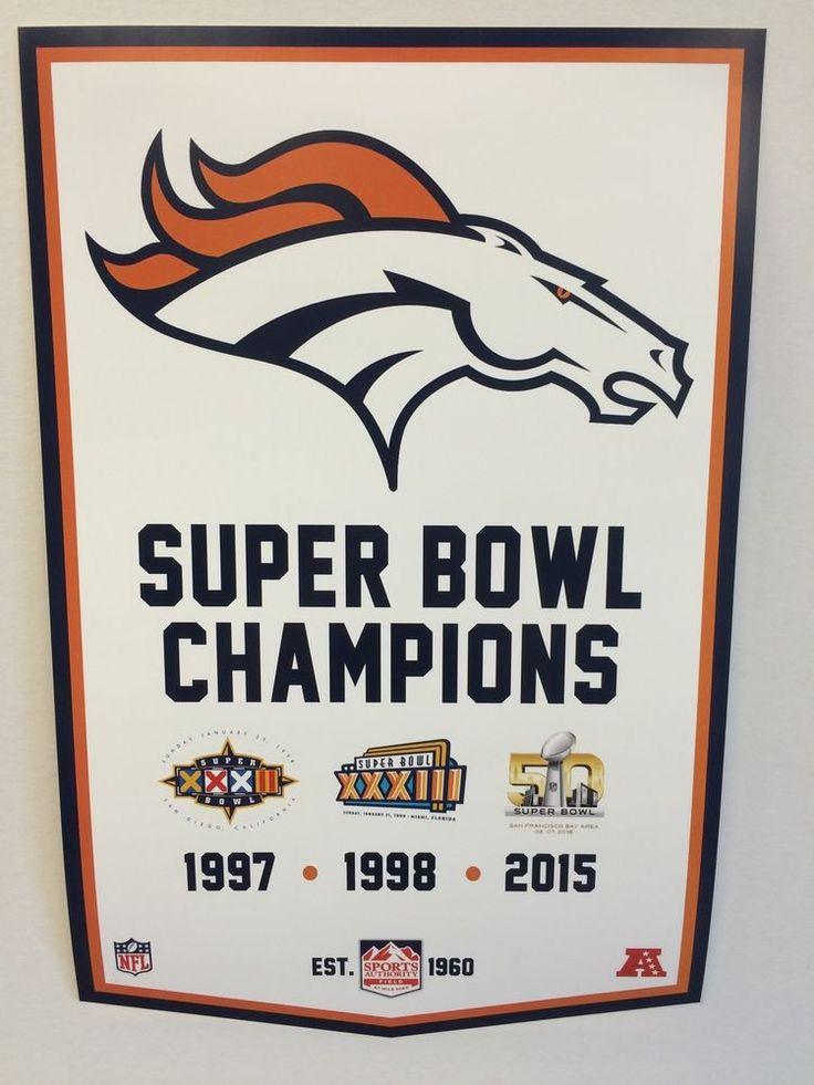 Denver Broncos Super Bowl 50 Championship Banner Style Poster Manning Ring #DenverBroncos