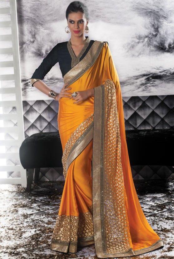 Glamorous Golden Yellow Saree