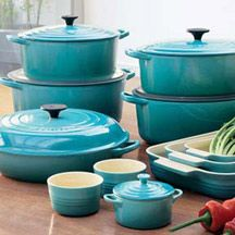 turquoise cookware from Le Crueset ~ 1 million dollars :) but I love the color and would love the larger Dutch oven ...