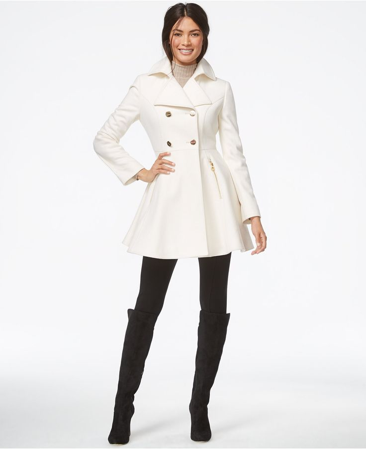 Laundry By Shelli Segal Double Breasted Flared Peacoat