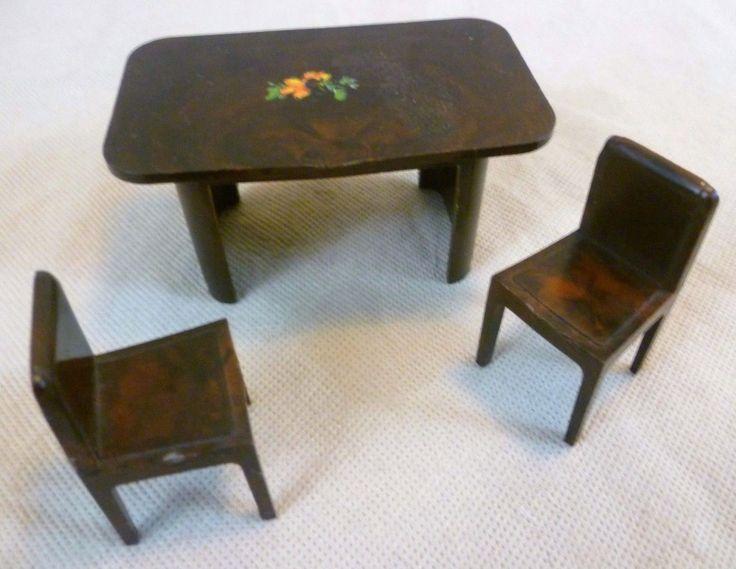 Vintage Dolls House - Codeg Plastic Dining Table & 2 Chairs - England C1950s | eBay