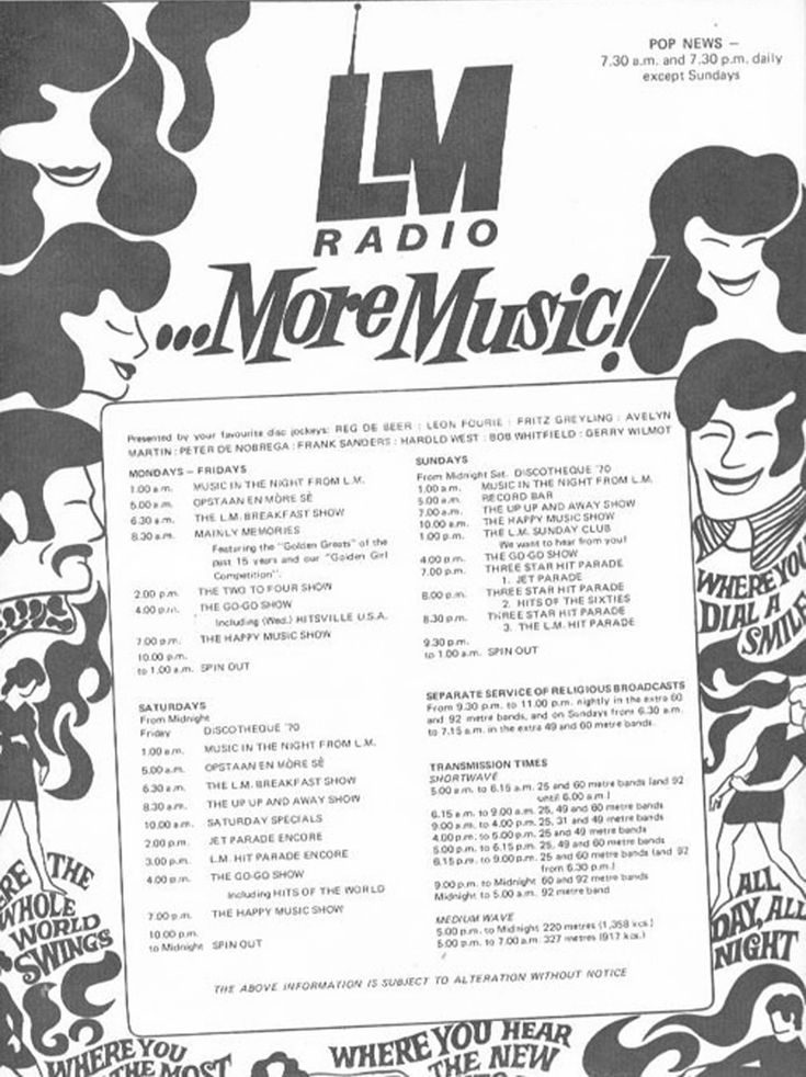 LM Radio Photos - Programme Schedule from Personality Magazine