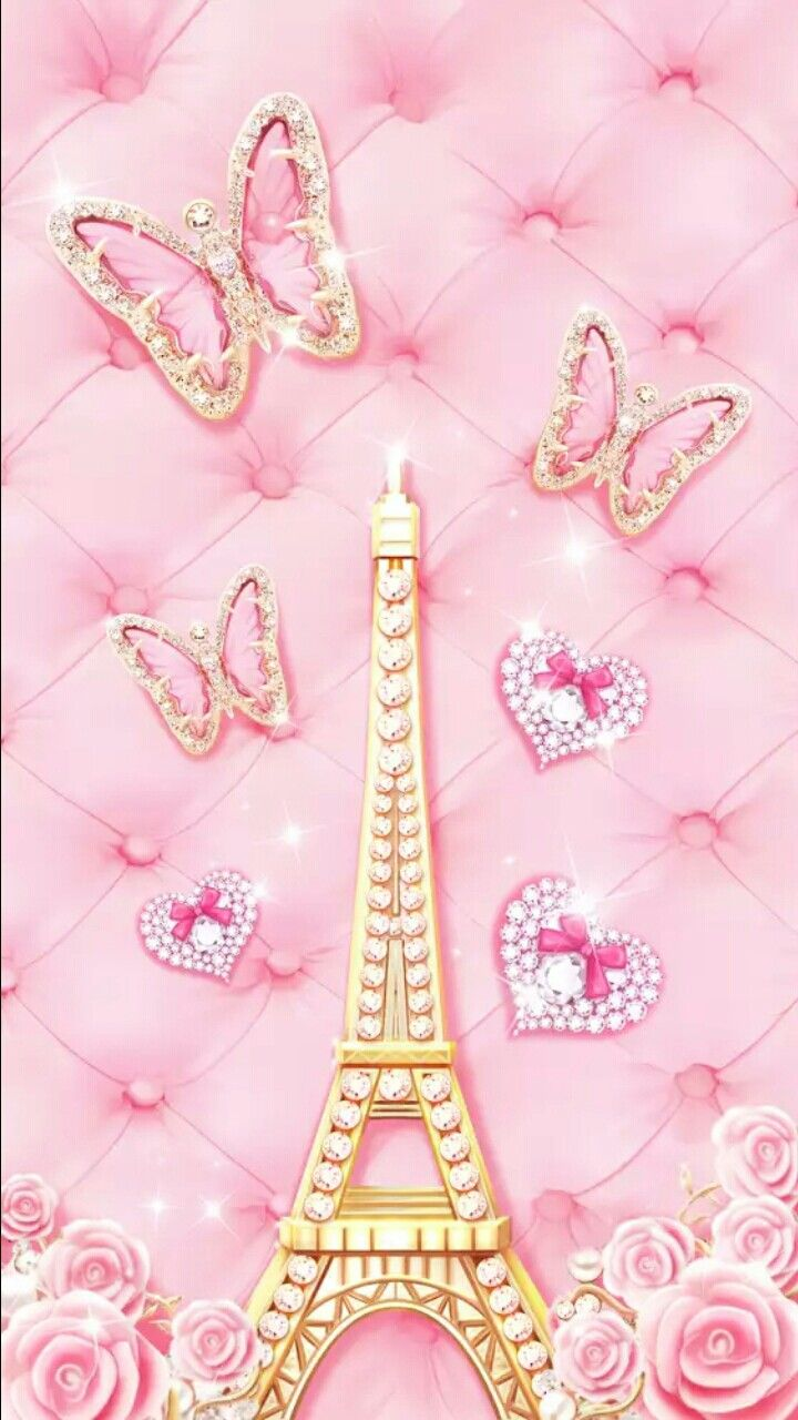 Pink and gold butterfly  effle tower