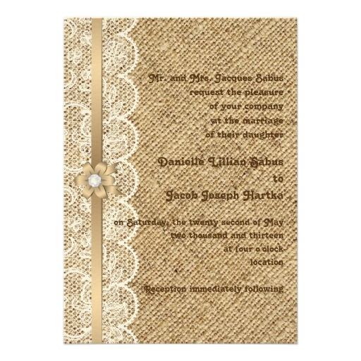 White lace, linen burlap wedding invi - Customized