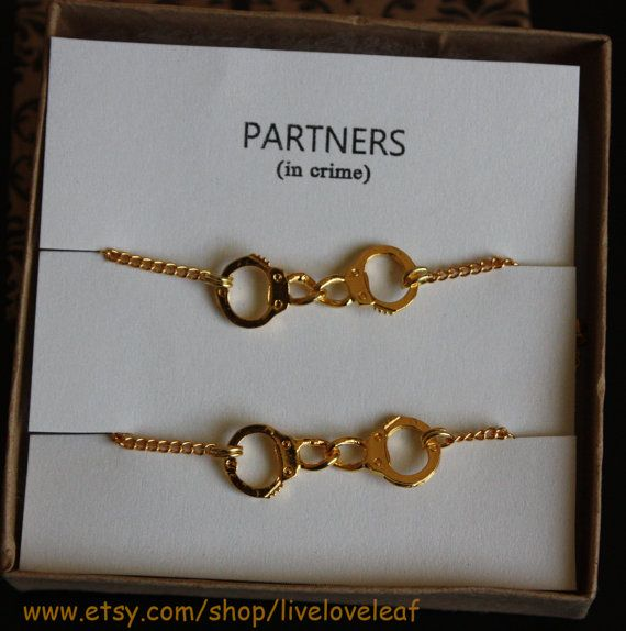 Partners In Crime Matching Best Friends Bracelets Gold Handcuffs Bracelet Charm Love Handchain Bff Jewelry