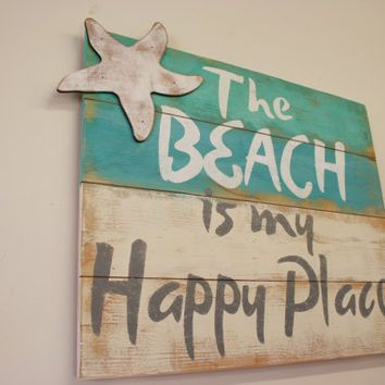 The Beach Is My Hy Place Pallet Sign House Shabby Chic Rustic Distressed Wood Wall Art Handpainted Housewarming Gift Signs Pinterest