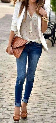 Blazer + sheer blouse.