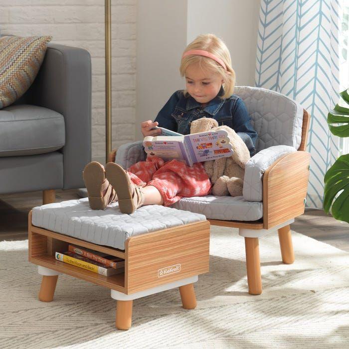 Mid Century Kid Reading Chair Ottoman Chair Ottoman Chair