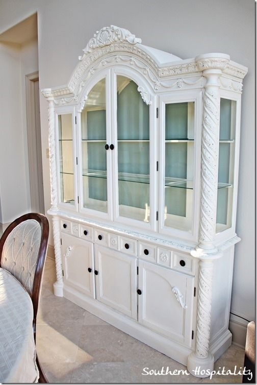 Annie Sloan old white china cabinet - ANOTHER fabulous makeover by Rhoda at Southern Hospitality!!!!