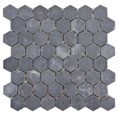 Hexagon Black Slate Mosaic Floor http://www.artofclean.co.uk/slate-and-sandstone-cleaning/