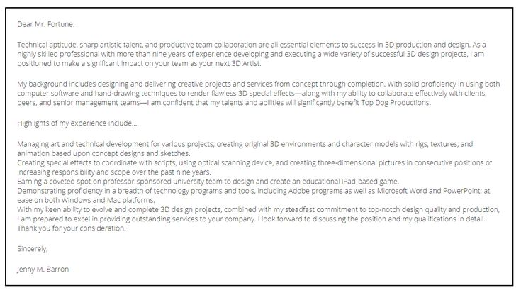 Resume Format Site 3d Artist Cover Letter Coverletter