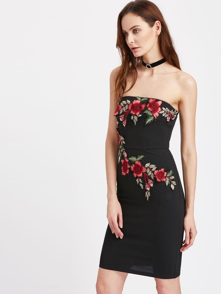 Shop Embroidered Blossom Embellished Bandeau Dress online. SheIn offers Embroidered Blossom Embellished Bandeau Dress & more to fit your fashionable needs.