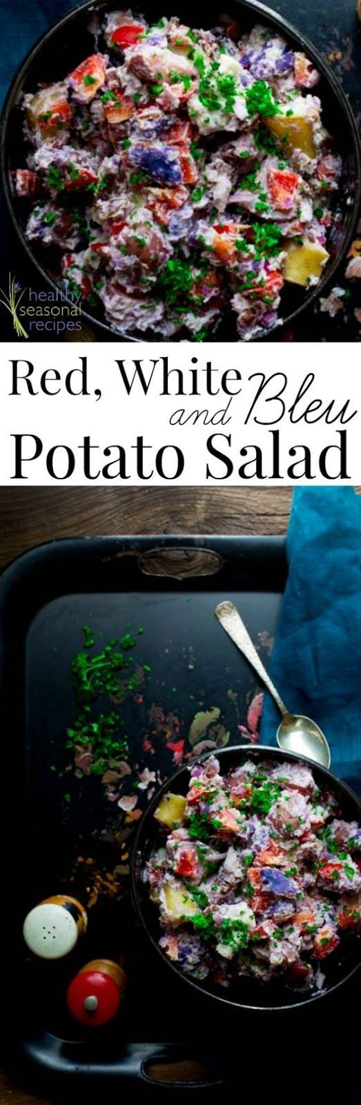 Red White and Blue Potato Salad with Horseradish and Bacon: