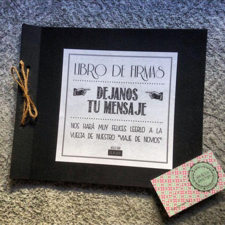 Libro de firmas personalizado, 100% handmade, con tarjetas independientes para que los invitados dejes sus mensajes.