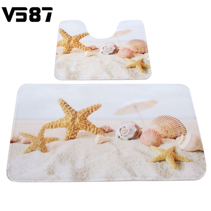 2Pcs Beach Shells Sea Star Slip Proof Carpet Mats Bathroom Toilet Mat Velvet Fabrics Washable Bath Mats Home Hotel Design Decor