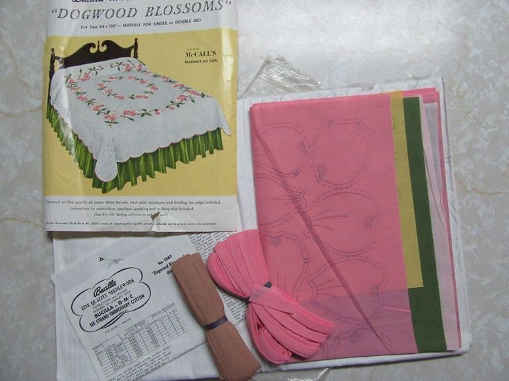 "Vintage Bucilla Applique Quilt Kit Dogwood Blossoms 84x100"" Single Double 1587 #Bucilla"