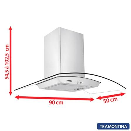 Imagem para Coifa de Parede 90cm Tramontina com 3 Velocidades Vetro - 94805 a partir de Fast Shop