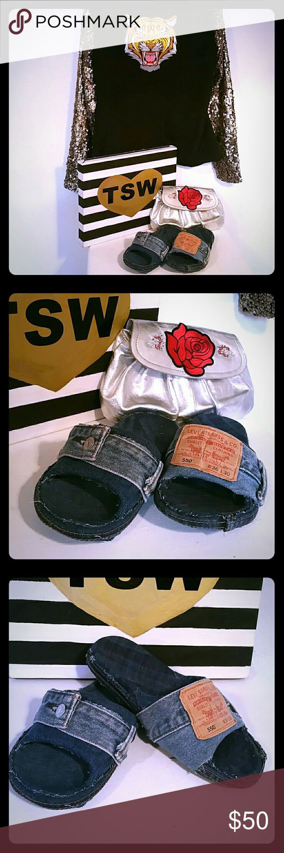 2 TONED DENIM SLIDES HANDMADE LEVIS 550 7 2 toned, light and dark denim_DENIM SLIDES HANDMADE LEVIS 550 Size 7 so comfy, sold as is, handmade by us! :) tswcouture Shoes Slippers