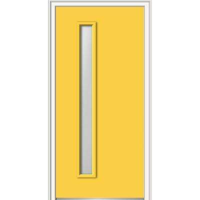 32 in. x 80 in. Frosted Glass Left-Hand 1-Lite Hinge Side Midcentury Painted Fiberglass Smooth Prehung Front Door