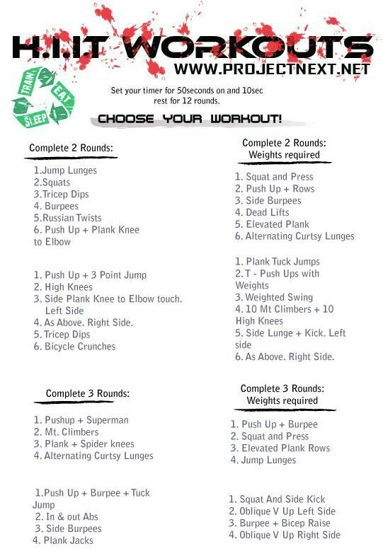 HIIT Workouts: Will be great for my Bootcamp classes I will be teaching!