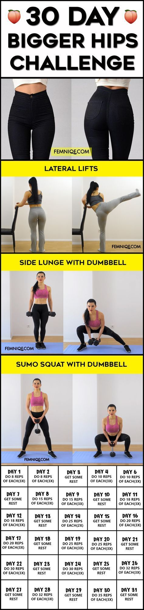 30 Day Bigger Hips Challenge (Wider & Curvier) - If you want to get bigger hips then you will love this challenge. The workouts are designed to stimulate muscle growth for you pelvic side muscles. The wider hips workout plan will sculpt bigger and curvier hips.