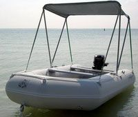Do-it-yourself plans for sun shade canopy bimini top for inflatable boats.