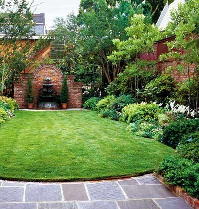 small lawn. lush border planting.: Gardens Ideas, Backyard Ideas, Small Yard, Brick Wall, Small Backyard, Small Spaces, Outdoor Spaces, Gardens Design, Wall Gardens