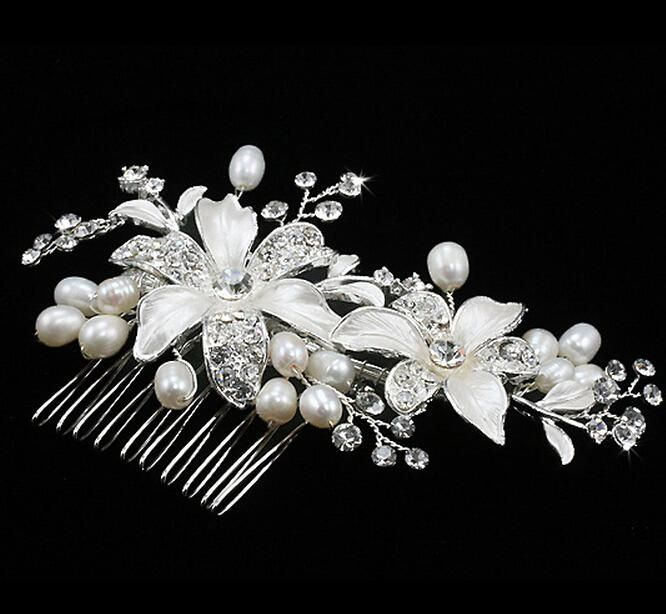 vintage wedding bridal jewelry diademi con perla dei capelli pettine moda accessori capelli