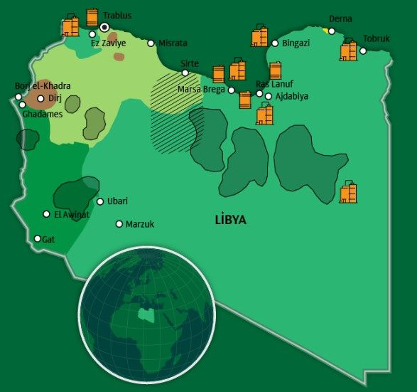 Libya da 'özgürlük devrimi'nin ardından geçen 6 yıl içinde ülke, çeşitli silahlı gurupların kontrol altında tuttuğu çok sayıda bölgeye ayrıldı.Birbiri ile çatışan iki ana siyasi güç bu güne kadar ortak bir hükumet oluşturamadı.