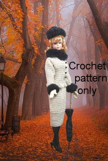 Crochet pattern (PDF) for Silkstone Barbie - 1950s style fur-trimmed suit and fur hat