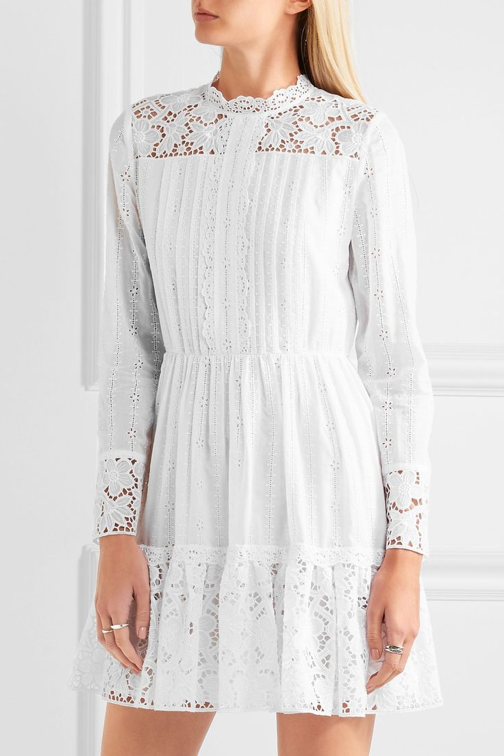 Valentino | Pintucked broderie anglaise cotton-blend mini dress | NET-A-PORTER.COM